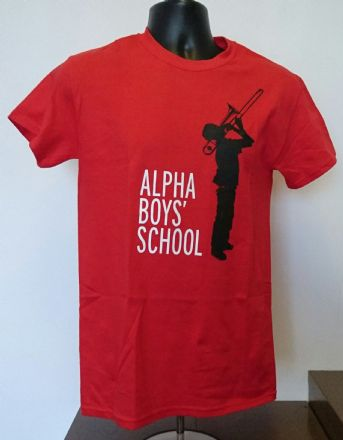 Alpha Boys School ALPHAWEAR JA T-SHIRT Red with White & Black Print
